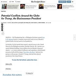 NYT - Potential Conflicts Around the Globe for Trump, the Businessman President