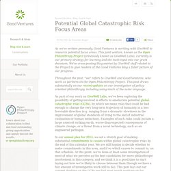 Potential Global Catastrophic Risk Focus Areas