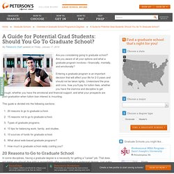 A Guide for Potential Grad Students: Should You Go To Graduate School?
