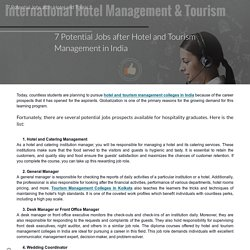7 Potential Jobs after Hotel and Tourism Management in India