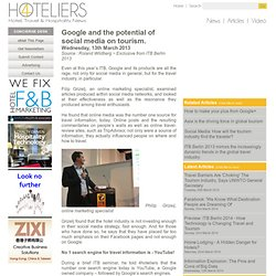 Google and the potential of social media on tourism ~ Wednesday, 13th March 2013 from ITB Berlin live - 4Hoteliers
