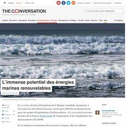 L'immense potentiel des énergies marines renouvelables
