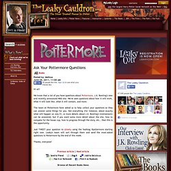 Ask Your Pottermore Questions
