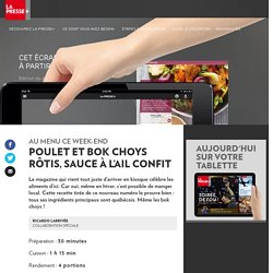 Poulet et bokchoys rôtis, sauce àl'ail confit