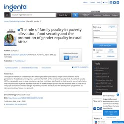 Promotion of gender equality in rural Africa
