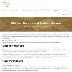 Chicken Manure, Poultry Manure
