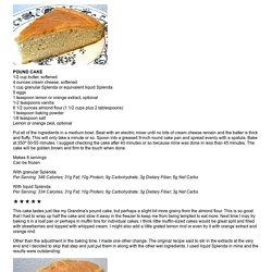 POUND CAKE - Linda's Low Carb Menus & Recipes