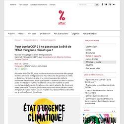 Pour que la COP 21 ne passe pas à côté de l'État d'urgence climatique