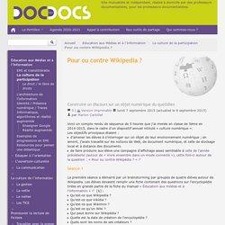 Pour ou contre Wikipedia ? - Doc pour docs