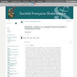 Falstaff, du «cerf gras» au «pourpoint rembourré de paille»: les paradoxes de l'excès