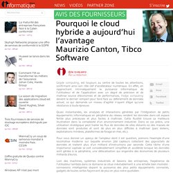 Pourquoi le cloud hybride a aujourd'hui l'avantage Maurizio Canton, Tibco Software