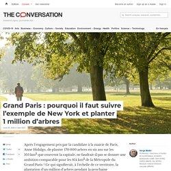 Grand Paris: pourquoi ilfaut suivre l'exemple deNewYork etplanter 1million d'arbres