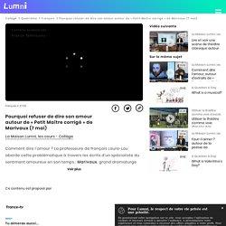 Pourquoi refuser de dire son amour autour de « Petit Maître corrigé » de Marivaux (7 mai) - Vidéo Français