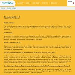 pourquoi-matilda: Pourquoi Matilda ?