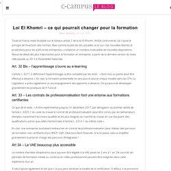 Loi El Khomri – ce qui pourrait changer pour la formation