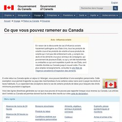 Ce que vous pouvez ramener au Canada