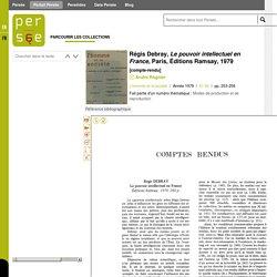 Régis Debray, Le pouvoir intellectuel en France, Paris, Éditions Ramsay, 1979