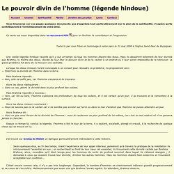 Le pouvoir divin de l'homme (légende hindoue) ~ Textes spirituels
