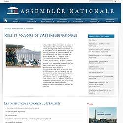 Rôle et pouvoirs de l'Assemblée - Assemblée nationale
