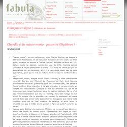 Chardin et la nature morte : pouvoirs illégitimes? (Fabula / Colloques)