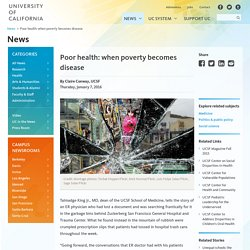 Poor health: when poverty becomes disease