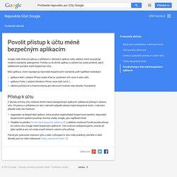 Povolit přístup k účtu méně bezpečným aplikacím - Nápověda Účet Google