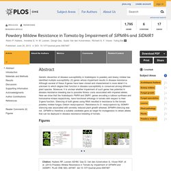 PLOS 20/06/13 Powdery Mildew Resistance in Tomato by Impairment of SlPMR4 and SlDMR1