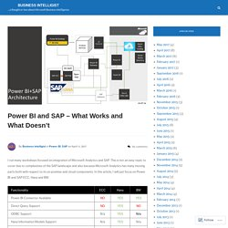 Power BI and SAP – What Works and What Doesn't – business intelligist