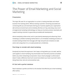The Power of Email Marketing and Social Marketing