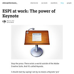 ESPI at work: The power of Keynote | Edenspiekermann