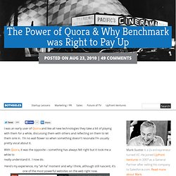 The Power of Quora & Why Benchmark was Right to Pay Up