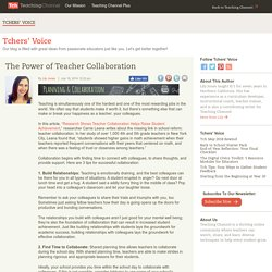 The Power of Teacher Collaboration