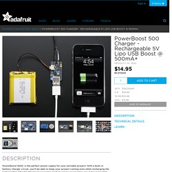 PowerBoost 500 Charger - Rechargeable 5V Lipo USB Boost @ 500mA+ ID: 1944 - $14.95