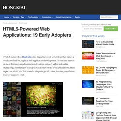 HTML5-Powered Web Applications: 19 Early Adopters