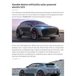 Humble Motors will build a solar-powered electric SUV – Telegraph