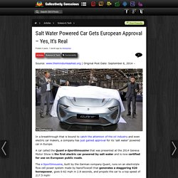 Salt Water Powered Car Gets European Approval – Yes, It's Real