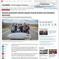 Human-powered vehicle speed record broken by Canada's Aerovelo