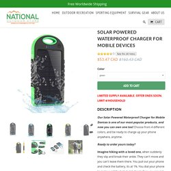 Solar Powered Waterproof Charger for Mobile Devices - National Outdoor Store