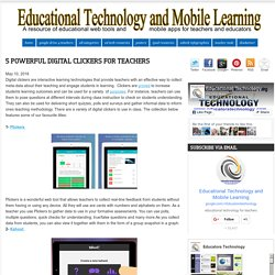 Educational Technology and Mobile Learning: 5 Powerful Digital Clickers for Teachers