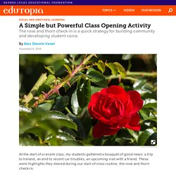 A Simple but Powerful Class Opening Activity