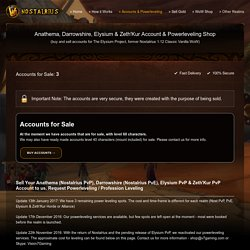 Buy Accounts & Powerleveling for Nostalrius & Elysium Vanilla 1.12 WoW
