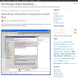 PowerPivot SharePoint Integration Install Bug - All things SQL Server Related....
