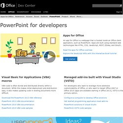 PowerPoint for developers | VBA, PIA, How To Videos | MSDN