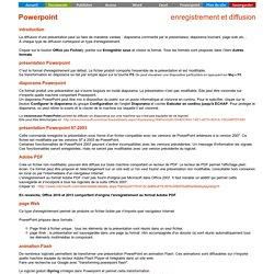 Powerpoint - enregistrement et diffusion