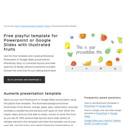 Free playful template for Powerpoint or Google Slides with illustrated fruits