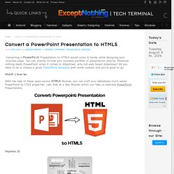 Convert a PowerPoint Presentation to HTML5