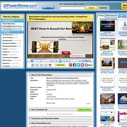 Best hotel in Karachi for rent and booking online PowerPoint presentation