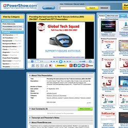 Providing the best service for the F-Secure Antivirus.(800) 294-5907 PowerPoint presentation