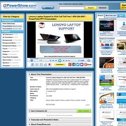 Lenovo Laptop Support in USA Call Toll Free 1-800-294-5907 PowerPoint presentation