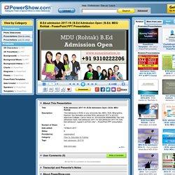 B.Ed. MDU Rohtak PowerPoint presentation